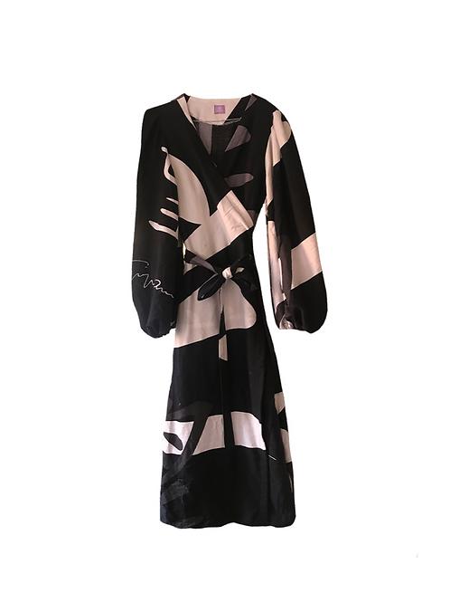 Flora Dress Black 90's Print