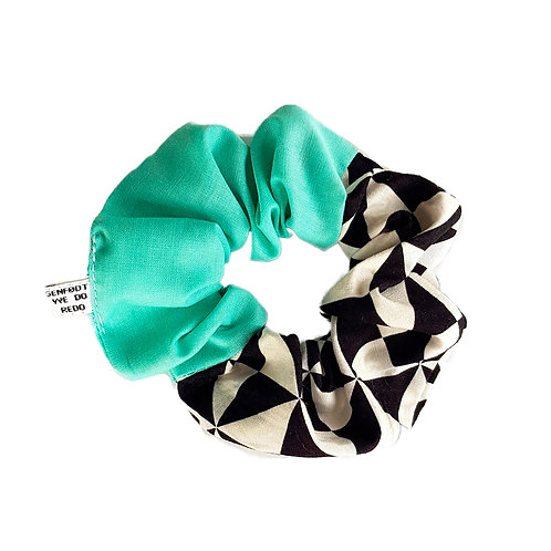 Sally Scrunchie Turquoise&Checkers