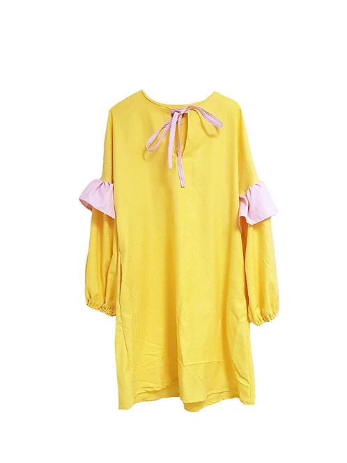 Amalie Dress Yellow & Pink