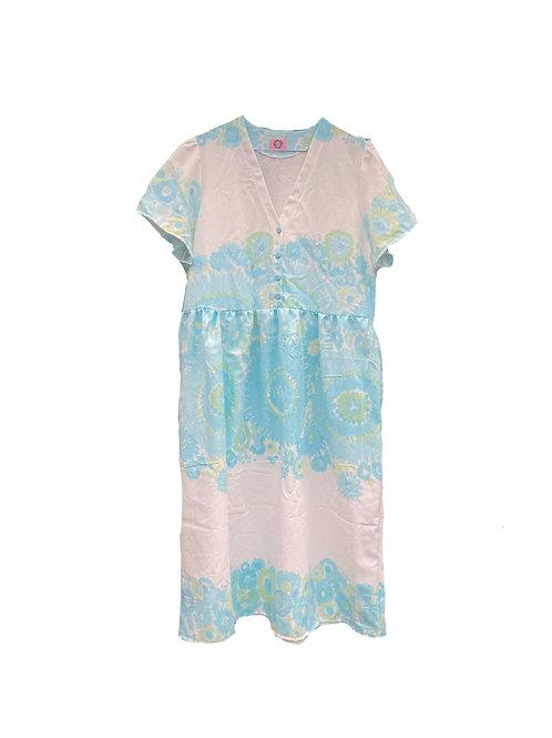 Camilla Dress Retro Blue Flowers
