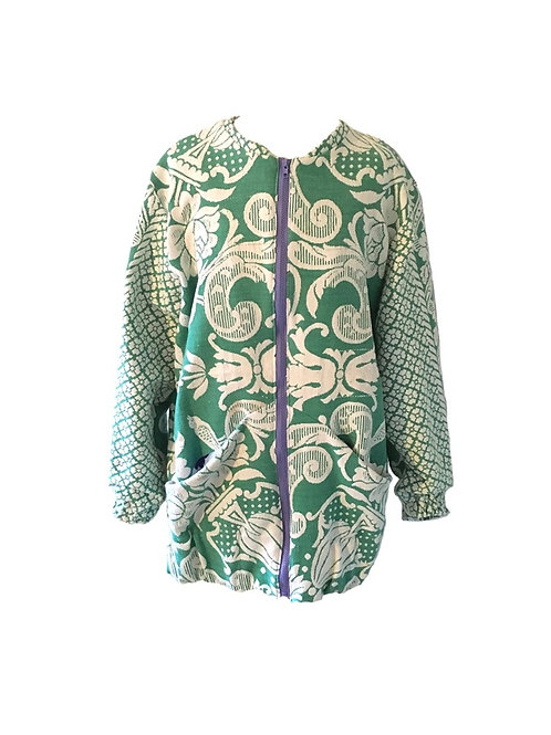 Long Bomber Green w/ Embroidery