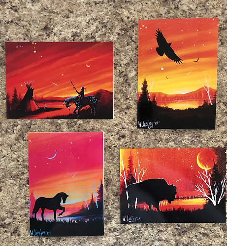 Sunset Pack of 4 Greeting Cards