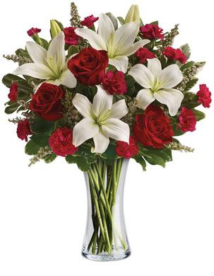 Arrangement of White  Lilies and Roses