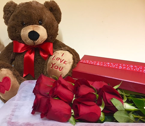 I ♥ You Teddy & Roses