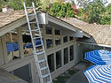 A free inspection and estimate of roof beam dry on a mid-century mordern home by The Beam Guy.