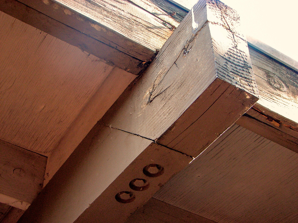 Exterior Beam Repair Splice Joint Using THREE Lag Bolts from Below
