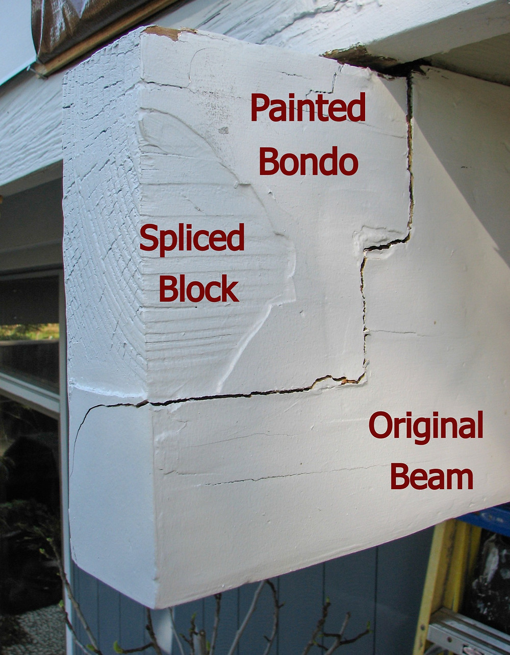 Exterior Beam Repair Using A Splice Joint And Bondo