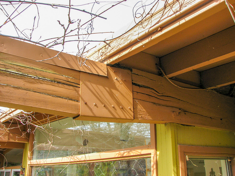 Advanced dry rot in roof beam due to shade structure leading to failure
