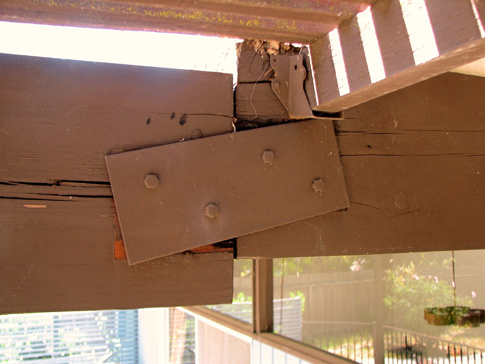 Failing Roof Beam due to shade structure