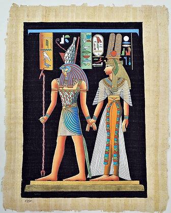 Egyptian Papyrus Paper - Horus & Nefertiti
