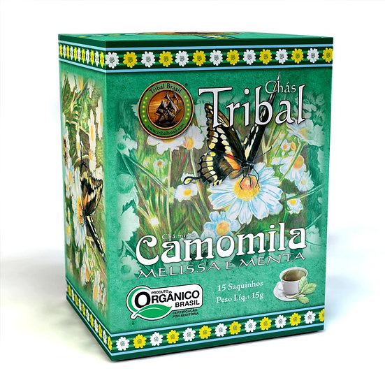 Chá Camomila com Melissa e Menta Orgânico - Caixa com 15 sachês