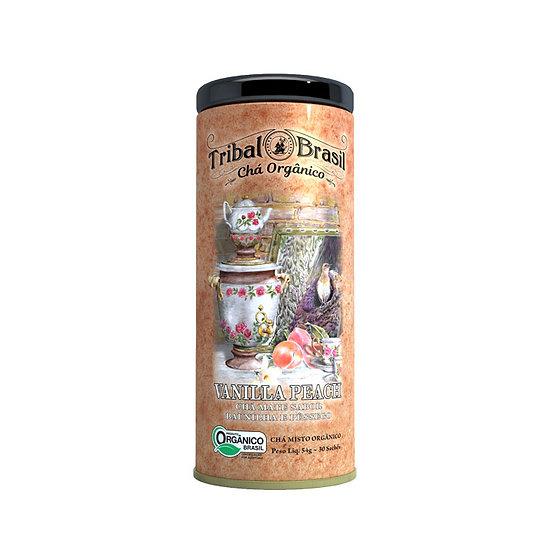 Chá Mate com Baunilha e Pêssego Orgânico - Lata decorativa com 30 sachês