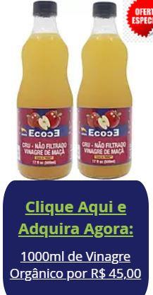 KIT 2 Vinagre De Maçã Orgânico Importado 100% Natural de 500ml
