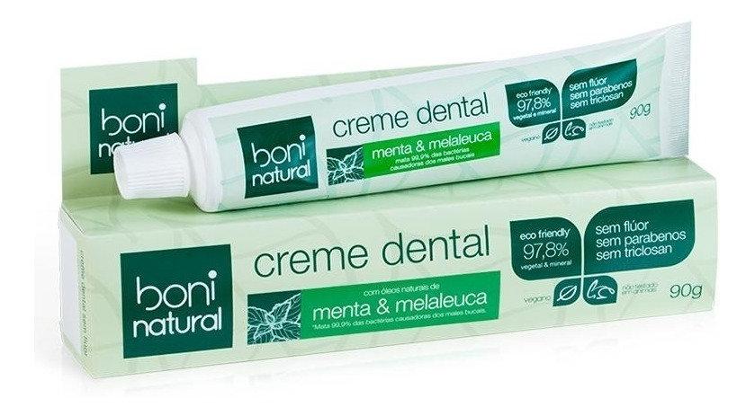 Creme Dental Natural Sem Flúor Menta e Melaleuca 90g