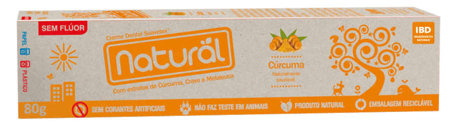 Creme Dental Natural Sem Flúor Cúrcuma 80g