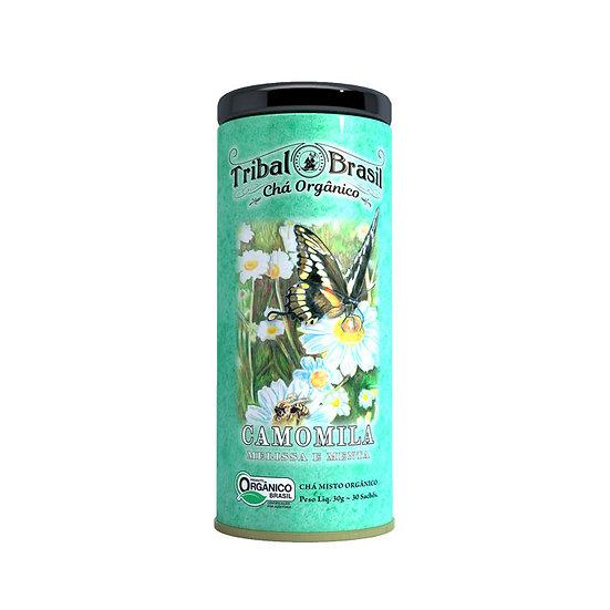 Chá Camomila com Melissa e Menta Orgânico - Lata decorativa com 30 sachês