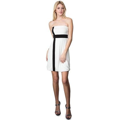 Evanese Women's Cross Color Block Strapless Tube Casual Cocktail Short Dress