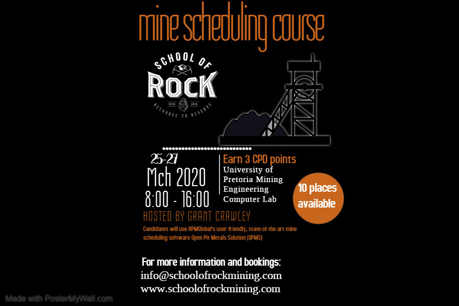 MINE SCHEDULING COURSE 25-27 MARCH