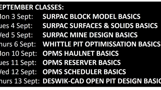 SEPT ONLINE MINE PLANNING SOFTWARE CLASSES