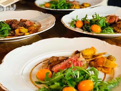 Tagliata Beef with Salad and Baked Potatoes