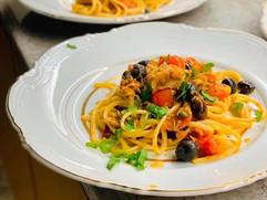 Spaghetti alla Puttanesca with Tuna