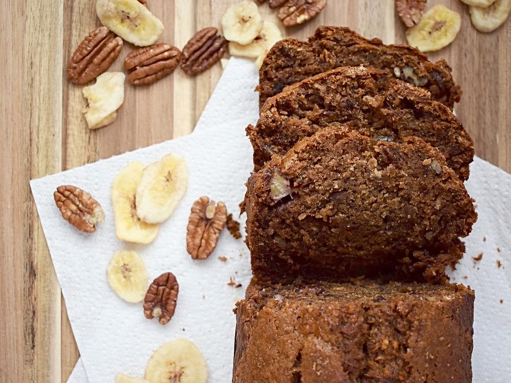 Vegan Banana, Coconut, Date & Ginger Loaf Cake