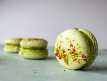 Pistachio, Lime & White Chocolate Macarons (Italian Method)