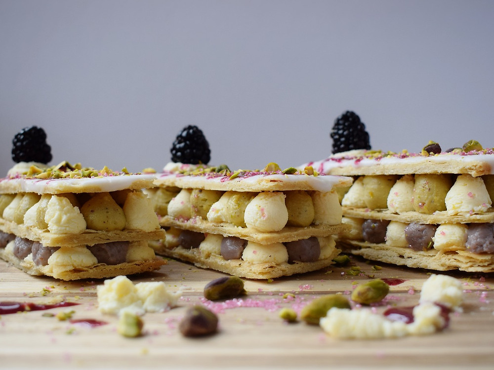 Blackberry & Pistachio Mille-Feuille