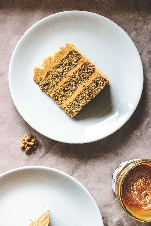 Coffee & Walnut Cake with Coffee-Caramel Buttercream (Gluten-Free)