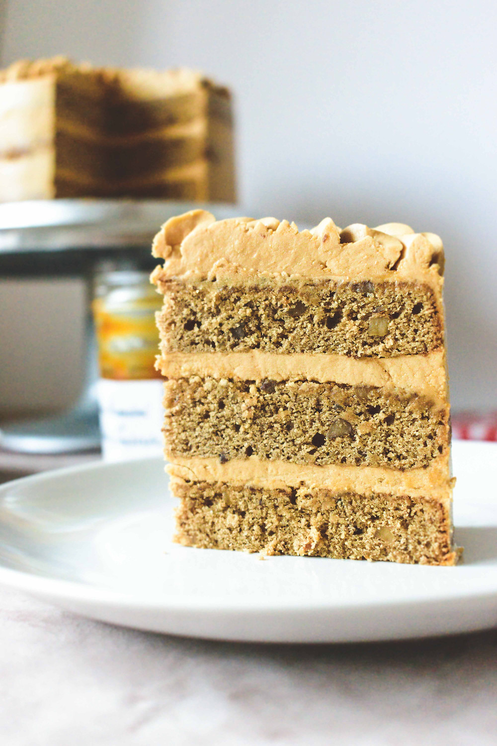 Coffee & Walnut Cake with Coffee-Caramel Buttercream (Gluten-Free)
