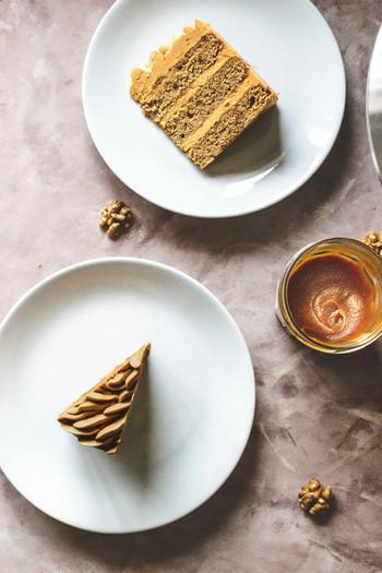 Coffee & Walnut Cake with Coffee-Caramel Buttercream