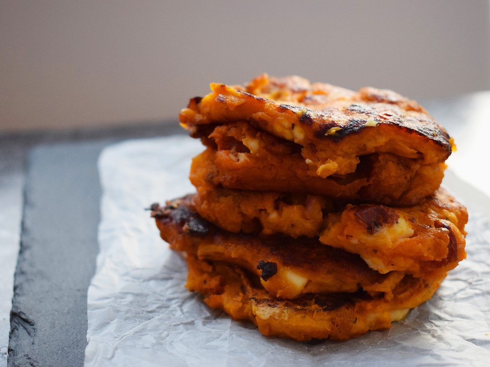 Sweet Potato, Red Lentil, Feta & Chorizo Fritters