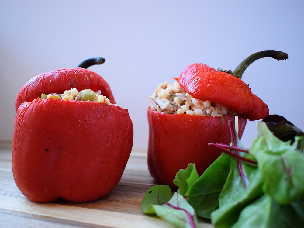 Tuna, Feta & Olive Stuffed Peppers with Salad