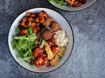 Butternut, Falafel & Halloumi-Pomegranate Salsa Bowls