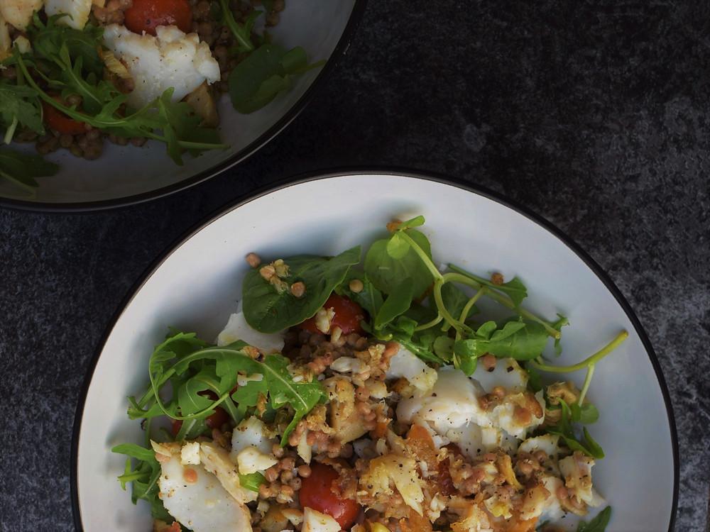 Warm Cod, Artichoke & Pesto Salad Bowls