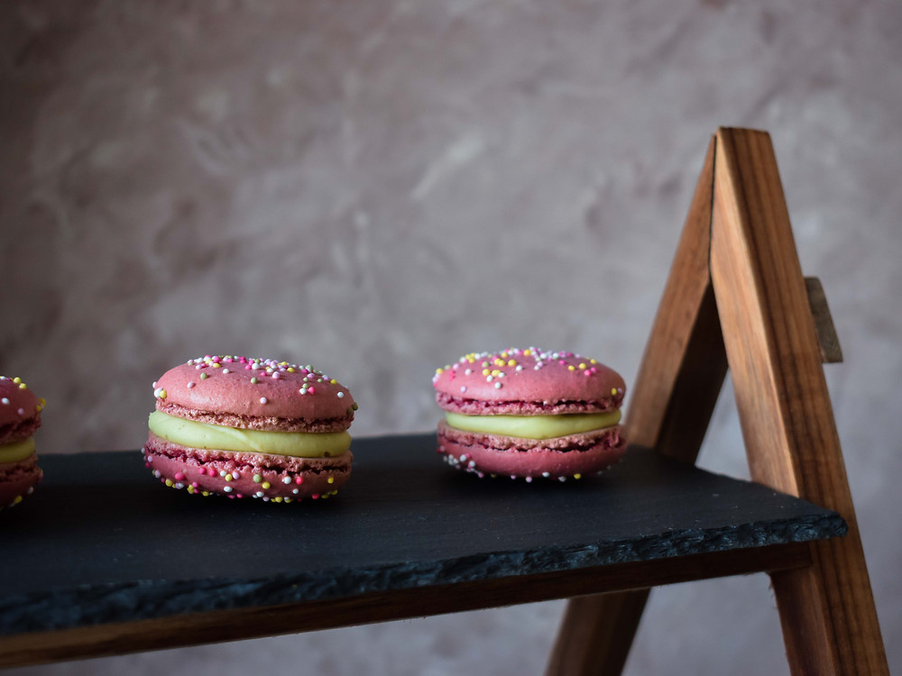 Pink Peppermint & White Chocolate Macarons