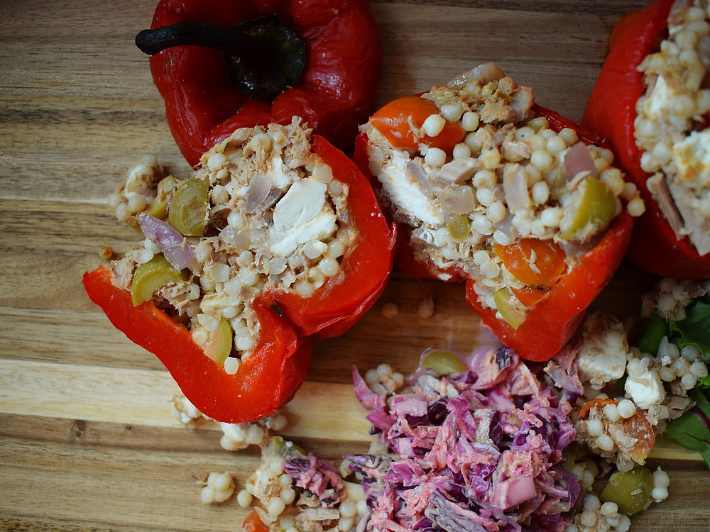 Tuna, Feta & Olive Stuffed Peppers with Slaw