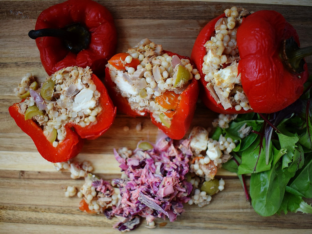 Tuna, Feta & Olive Stuffed Peppers with Slaw & Salad