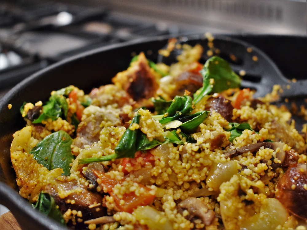 Sausage, Spinach & Sundried Tomato Cous Cous