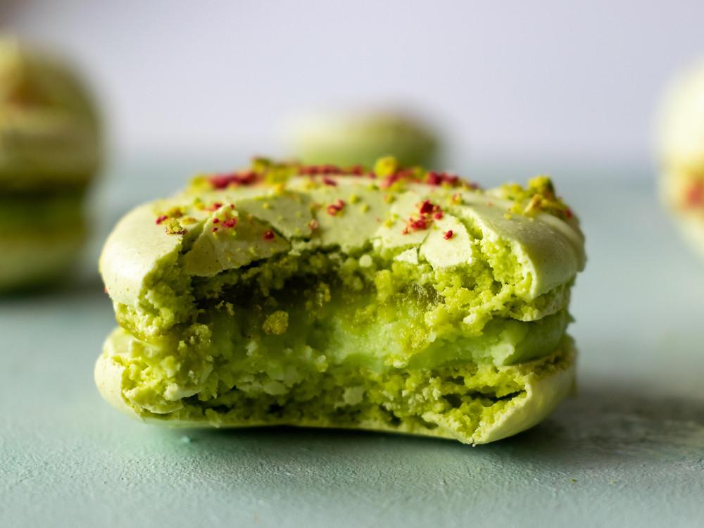 Pistachio, Lime & White Chocolate Macarons