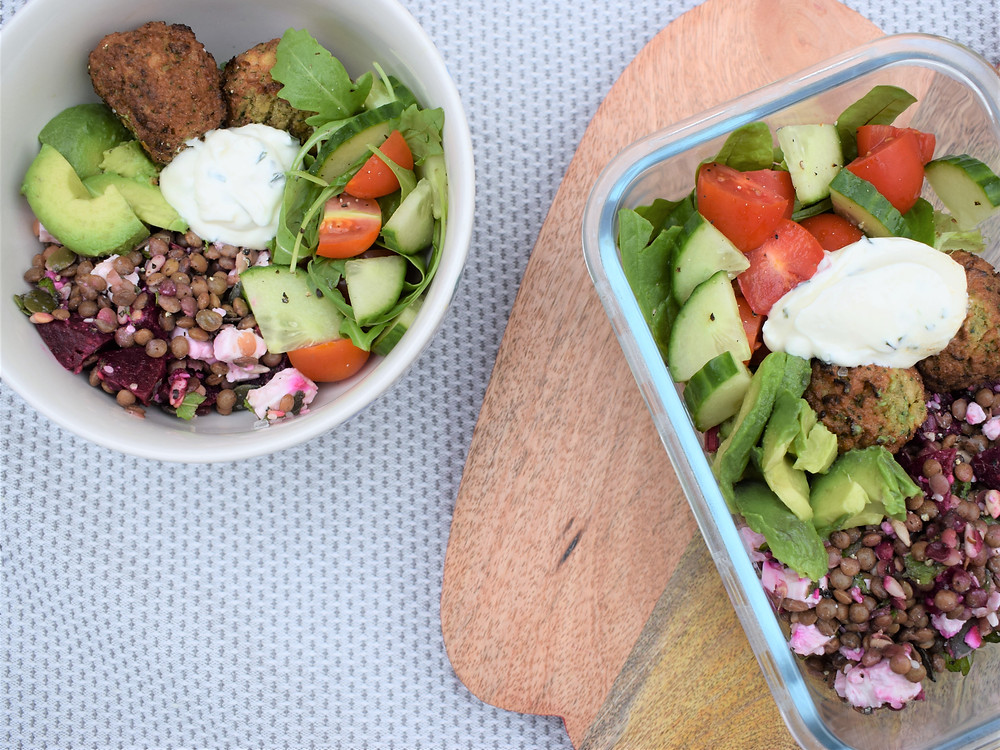 Beetroot, Feta & Lentil Lunch Bowl and Box