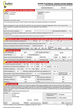 Minor Electrical Installation Certificat