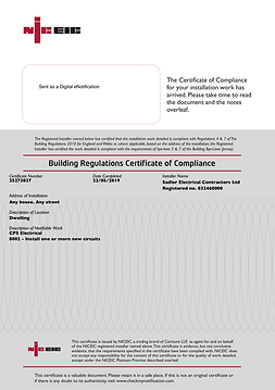 Example Building Control Notification Certificate