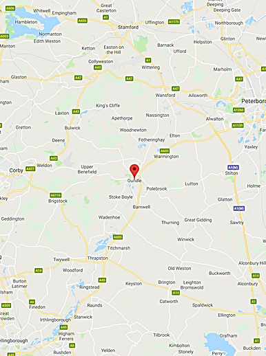 Map of Oundle and surrounding area covered by Sadler electrical.