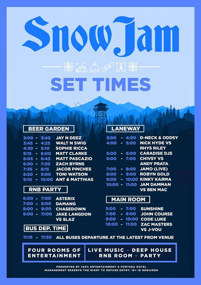 Code Luke @ Snow Jam - Portsea Hotel - Queens Birthday Eve - June 12th