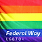 A rainbow flag that says Federal Way LGBTQ+