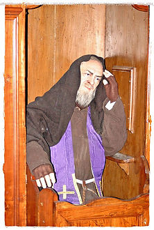 padre-pio-hearing-confessionals-listening-to-sinner-reciting-their-sins-pamphlets-to-inspire
