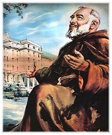 padre-pio-on-knee-in-thanksgiving-smiling-for-the building-of-the-hospital-for-the-relief-of-suffering-pamphlets-to-inspire