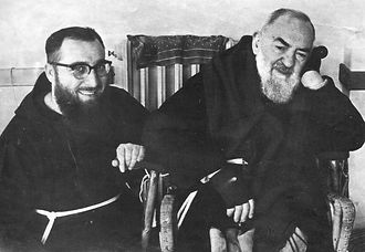 father-allesio-and-padre-pio-enjoying-quite-time-alone-pamphlets-to-inspire
