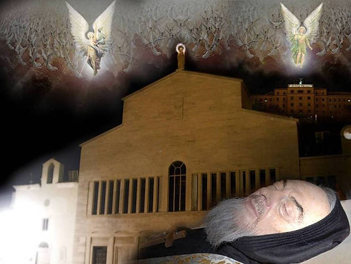body-of-padre-pio-lying-in-state-at-our-lady-of-grace-church-surrounded-by-angels-pamphlets-to-inspire